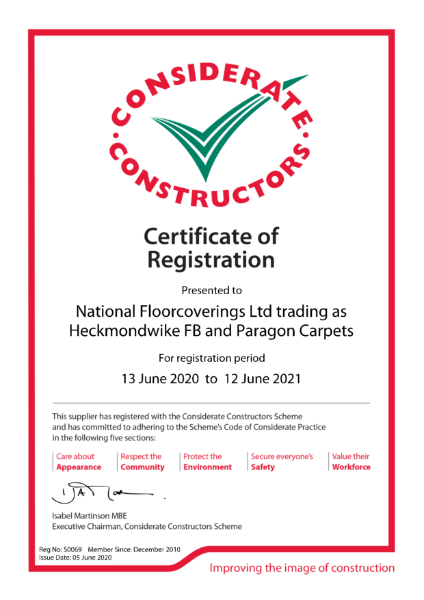 Paragon Carpet Tiles - Considerate Constructors