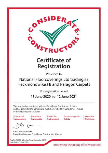 Paragon Carpet Tiles - Considerate Constructors