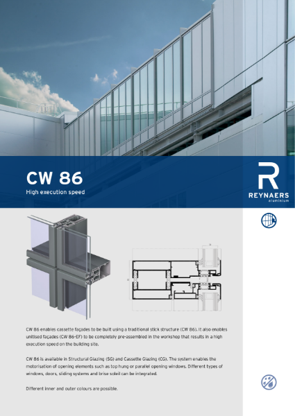 Aluminium Unitised Curtain Wall - CW 86