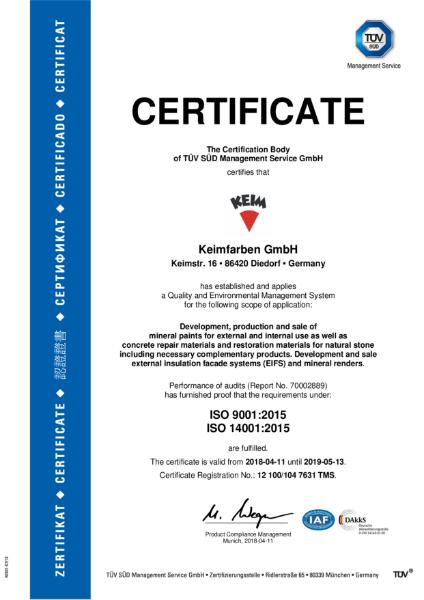 Keim ISO Certificate