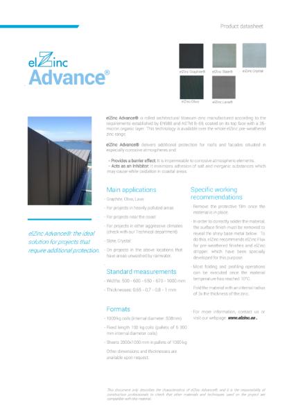 elZinc Advance Zinc Datasheet