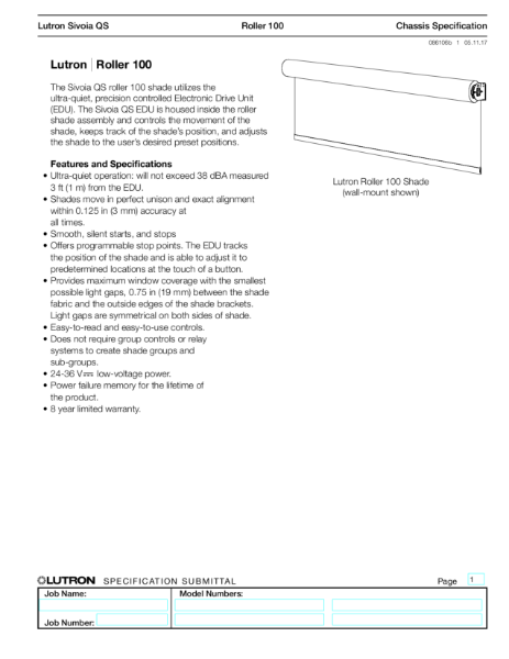 Lutron roller blind R100 Data sheet