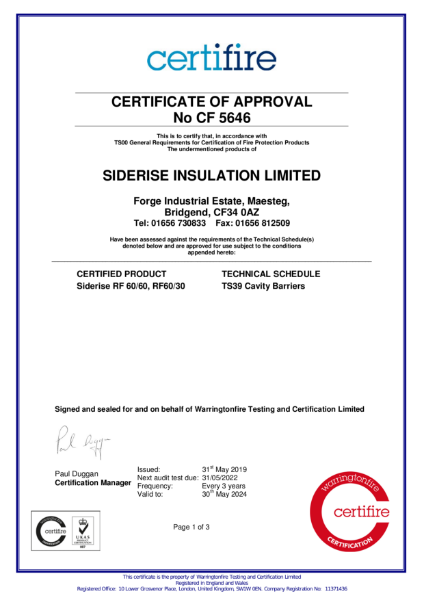 Certifire Certificate CF5646 Cavity Barriers