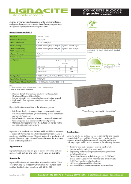 Lignacite Concrete Blocks