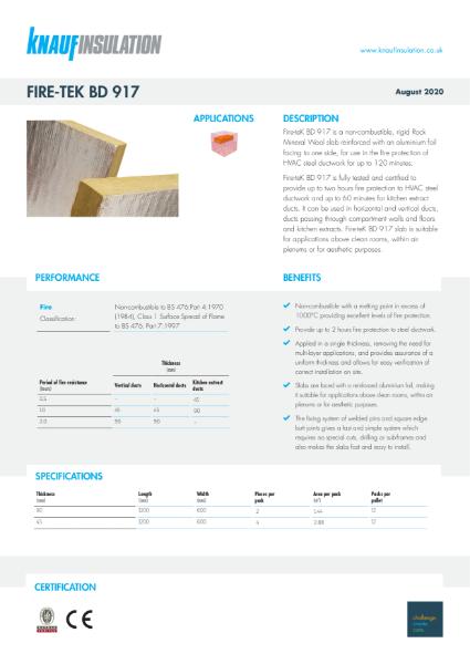 Knauf Insulation Fire-teK BD 917 Insulation Data Sheet