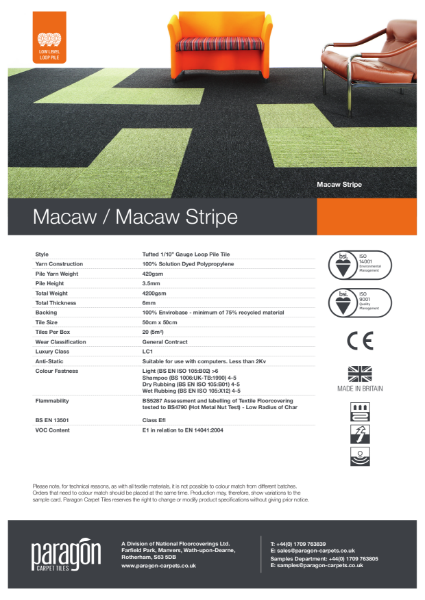 Paragon Carpet Tiles - Macaw Stripe - Specification Information