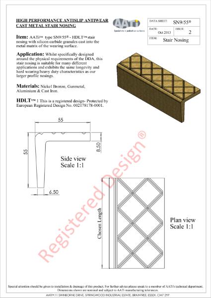 Stair Nosing Anti-slip type SN9/55® Cast metal