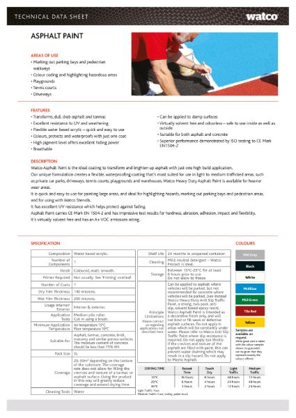 Data Sheet: Asphalt Paint