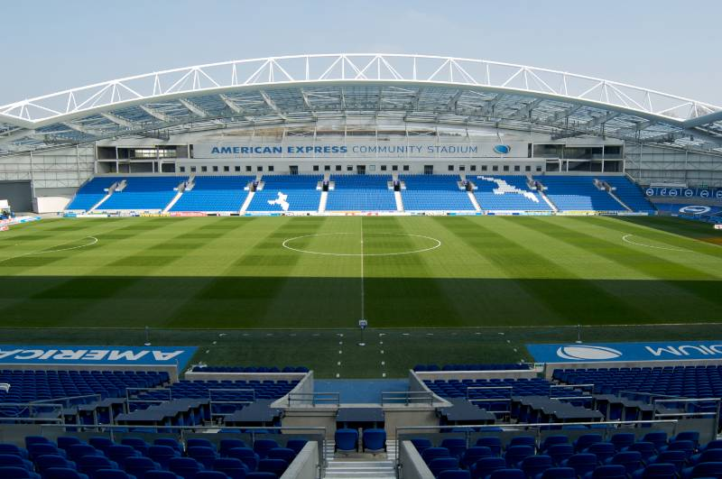 Fully curved soffit and bullnose system installed at the Amex Stadium