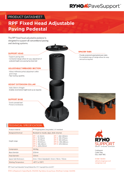 Datasheet - Fixed Head Adjustable Paving Pedestals