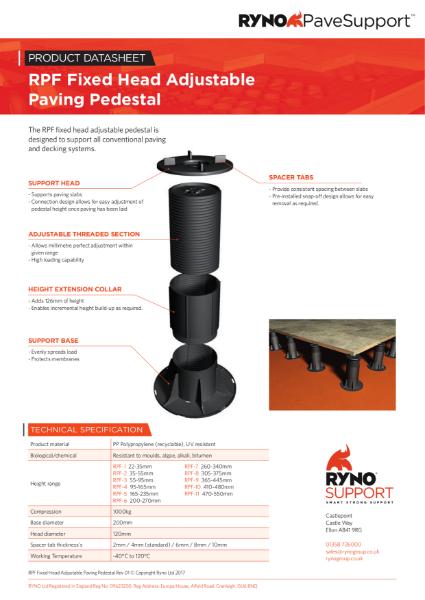 Datasheet - Fixed Head Adjustable Paving Pedestals