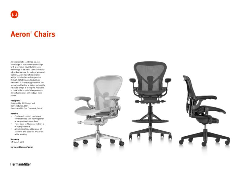 Aeron Chair - Product Data Sheet