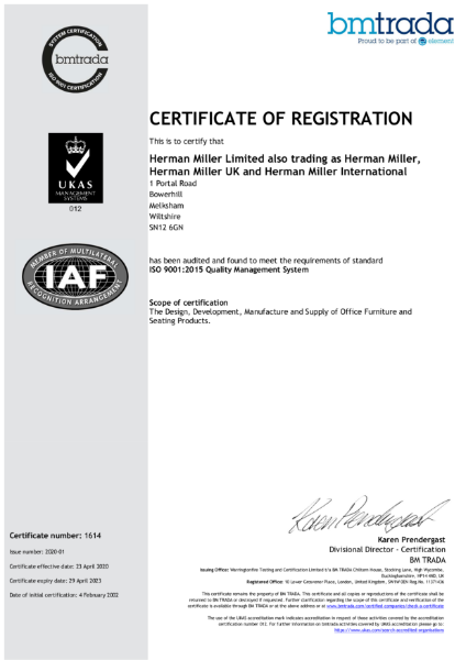 ISO 9001 Herman Miller Certification
