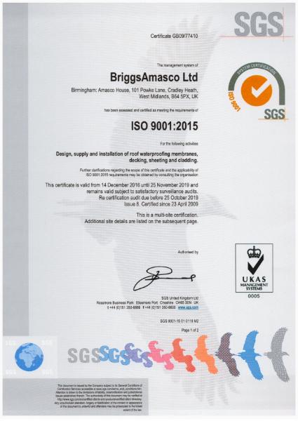 BriggsAmasco ISO 9001:2015