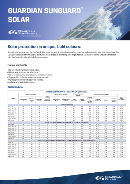 SunGuard® Product flyers - Solar Flyer