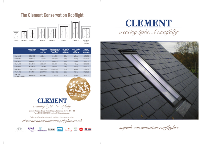 Clement Conservation Rooflight Brochure