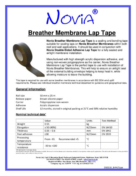 Novia Breather Membrane Lap Tape