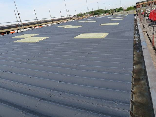 Asbestoseal asbestos roof coating project Warwickshire