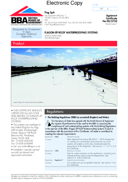 00/3750 Flagon EP roof waterproofing systems
