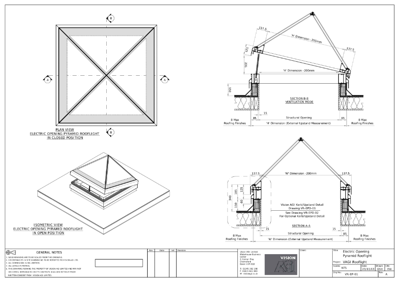 Electric Opening Pyramid Rooflight