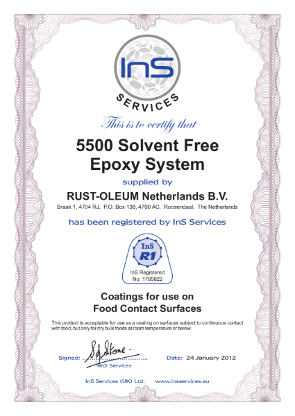 Food certification of 5500 solvent-free Epoxy