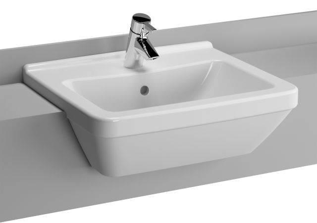 VitrA S50 Semi-recessed Washbasin, 55 cm, Square, 5598