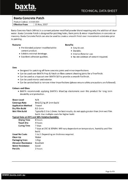 Baxta Concrete patch technical data sheet.