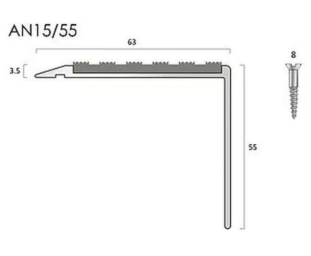 AN15/55 aluminium stair nosings