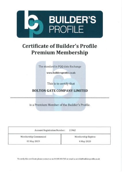 Certificate of Builder's Profile Premium Membership