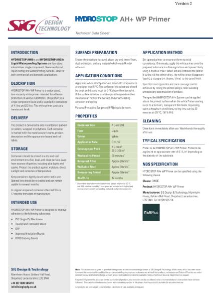 Hydrostop AH+ Liquid Waterproofing WP Primer Datasheet