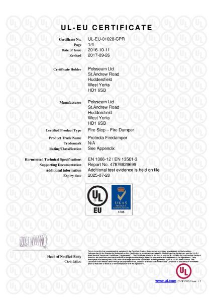 Protecta FR Damper - UL-EU Certificate