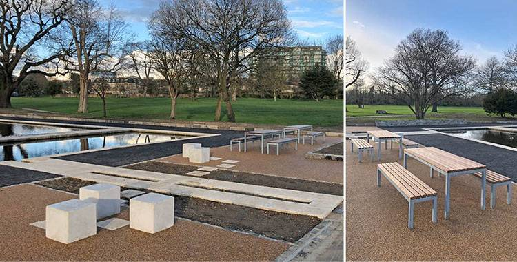 Contemporary furniture for refurbished London urban park