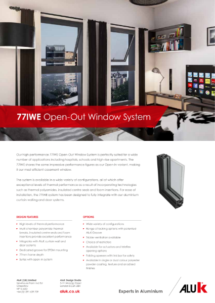 AluK 77IWE Window System Datasheet Open Out