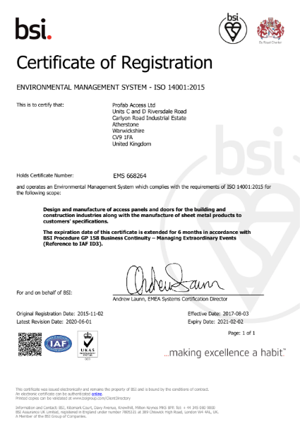 Profab Access ISO 14001:2015 Certificate