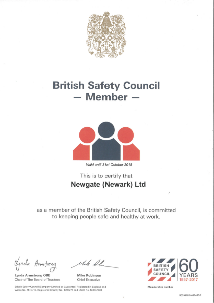 British Safety Council Certificate
