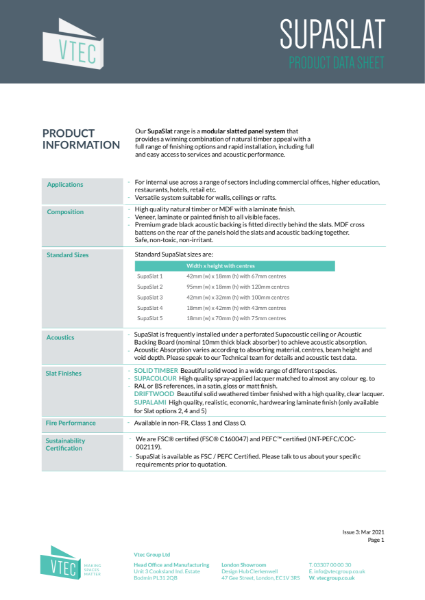 SupaSlat Data Sheet - modular slatted wood system for walls and ceilings