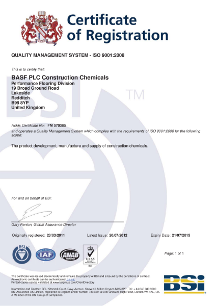 ISO 9001:2008 Certificate (Redditch)