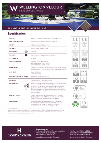 Heckmondwike - Wellington Velour - Specification Sheet