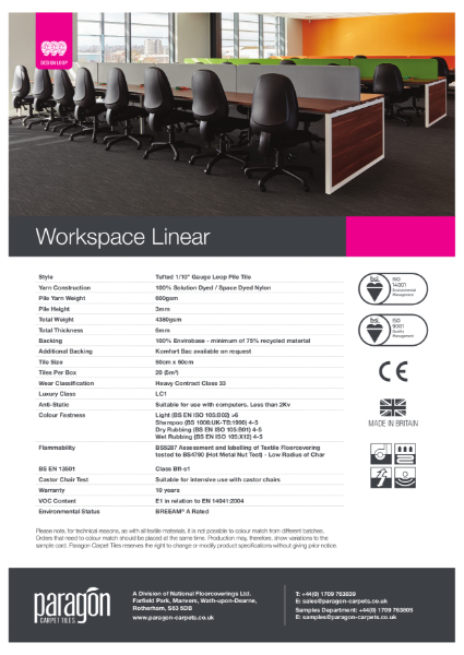 Paragon Carpet Tiles - Workspace Linear - Specification Information