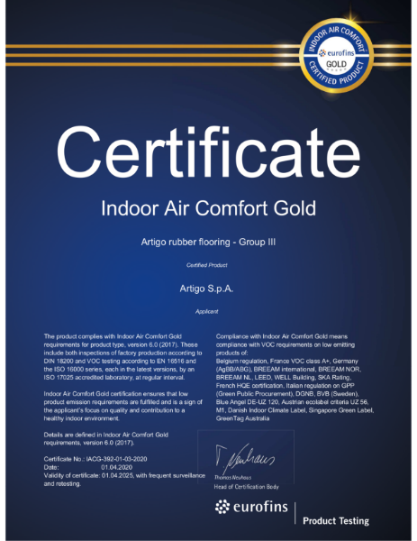 Eurofins: Indoor Air Comfort GOLD - Certified