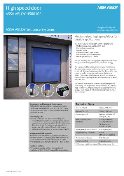 High Speed External Building Door