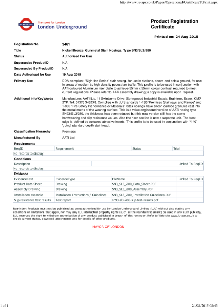 AATi certificate for product ref: SN3/SL3/280 value engineered product