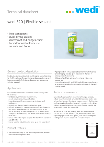 wedi 520 Adhesive TDS
