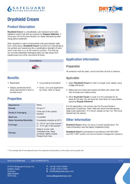 Dryshield Cream Data Sheet