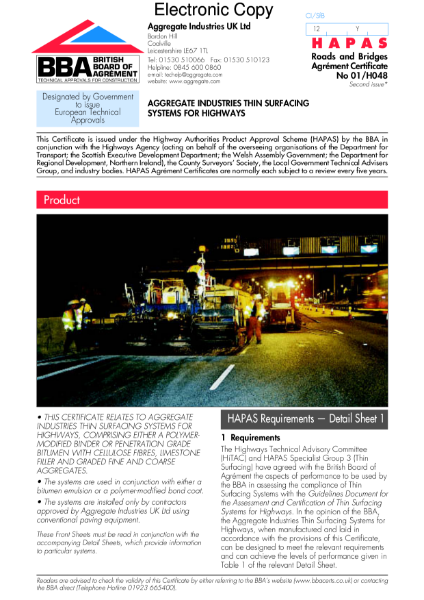 Thin surfacing systems for highways