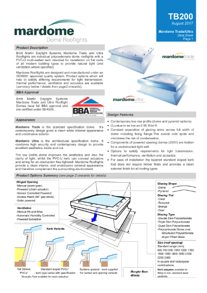 Mardome Fixed Polycarbonate Rooflight
