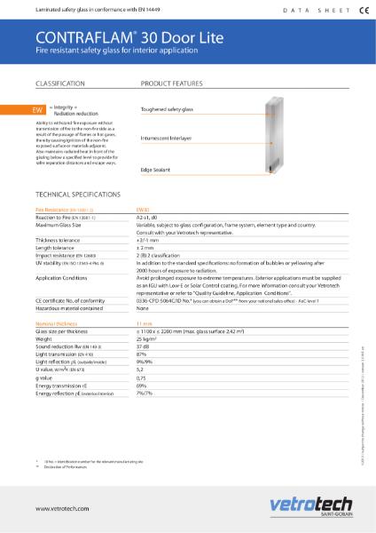 003. Contraflam Door Lite Datasheets