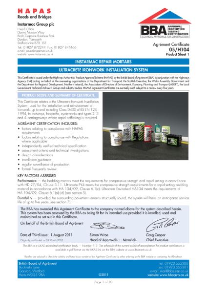 05/H104 Ultracrete ironwork installation system