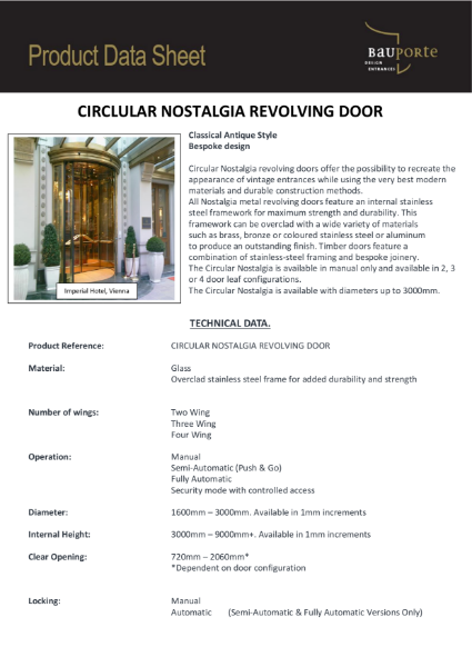 Bauporte Circular Nostalgia Revolving Door