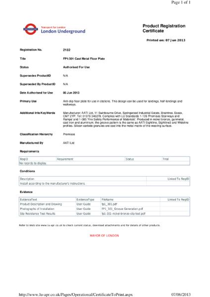 AATi certificate for AATi Anti-slip Floor / Landing Plate ref: FP1/301